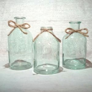 Aqua Tinted Glass Bud Vases w/ Bow - Set Of Three